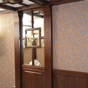 потолочные балки и стеновые панели из дерева4