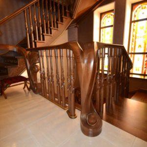 97_ шикарная лестница массив с резьбой ручной работы_10