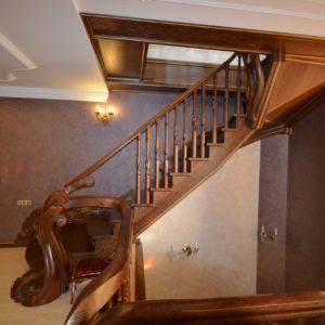 97_ шикарная лестница массив с резьбой ручной работы_11