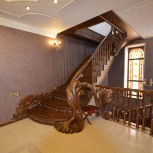 97_ шикарная лестница массив с резьбой ручной работы_16