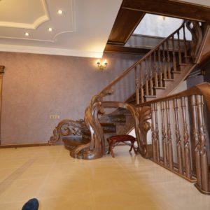 97_ шикарная лестница массив с резьбой ручной работы_17