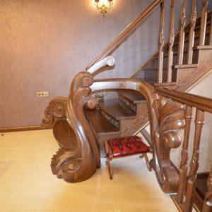 97_ шикарная лестница массив с резьбой ручной работы_18