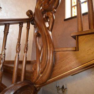 97_ шикарная лестница массив с резьбой ручной работы_29