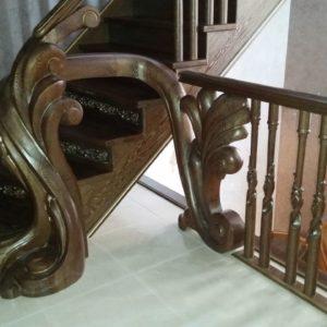 97_ шикарная лестница массив с резьбой ручной работы_3