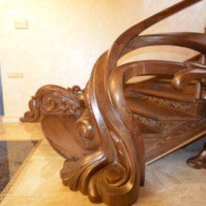 97_ шикарная лестница массив с резьбой ручной работы_30