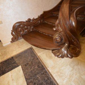 97_ шикарная лестница массив с резьбой ручной работы_31