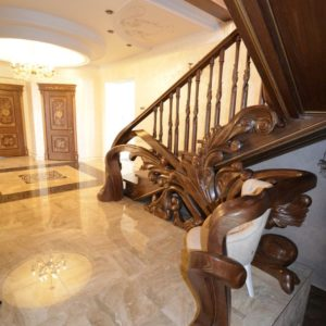 97_ шикарная лестница массив с резьбой ручной работы_32