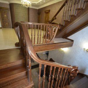 97_ шикарная лестница массив с резьбой ручной работы_36