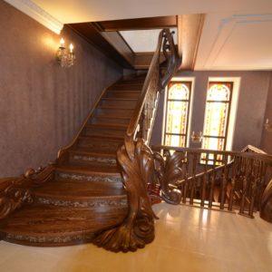 97_ шикарная лестница массив с резьбой ручной работы_4