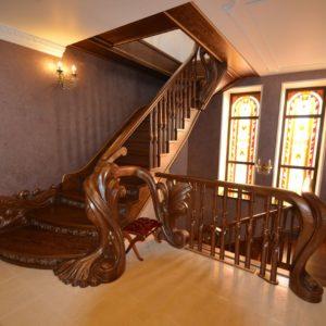 97_ шикарная лестница массив с резьбой ручной работы_5