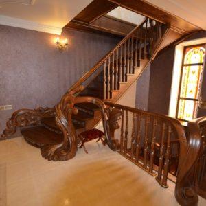 97_ шикарная лестница массив с резьбой ручной работы_6